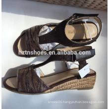 Snake PU leather espadrille wedge T-shape sandal jute sole women's shoe