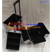 Hard Fashionable Cosmetics Trolley Box with 3 Tiers
