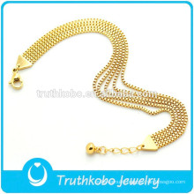 TKB-B0180 Fashion chunky jewelry women's box chain adjustable gold plated 316L stainless steel multiple chain bracelet