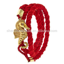 Vente en gros Best Friend Bracelet Luck Rope avec Gold Seahorse Bracelets pour Fashion Anchor Jewelry