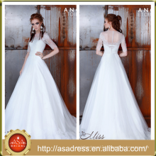 AE-21 Soft A Line Lace Appliqued Beaded Bridal Wedding Gowns with Sleeves 2016 Floor Length Button Vestido De Noiva Simples