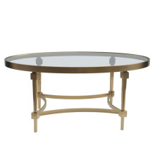 Ellipsoid Glass Top Stainless Steel Living Room Table