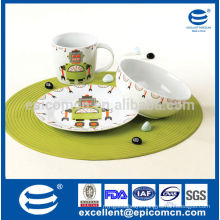 3pcs excellent home decor round ceramic kids set with plates bowls and mugs from china for children daily use                                                                         Quality Choice
