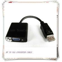 Noir DP vers VGA M / F Câble adaptateur 15 cm (livrer audio numérique haute définition et vidéo du port DP aux moniteurs VGA)