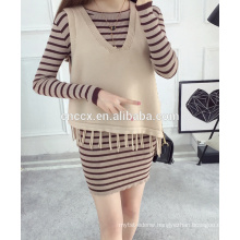 PK17ST371 waistcoat pattern tassel design cashmere sweater woman with fringe