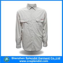 Camisas de homens baratos de algodão de manga comprida simples design personalizado