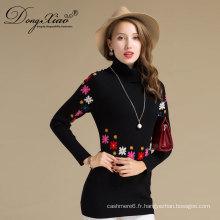 2017 Mode Top Design à Tricoter Motif Broderie Femmes Cachemire Long Tight Pull Dress