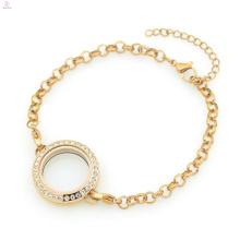 Горячая цена по прейскуранту завода нержавеющей стали 316L розовое золото кристалл 5мм Ширина цепи ювелирные изделия перлы браслеты