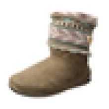 Calça de perna das mulheres Calcanhar de malha-cuff Bootie anti-derrapante com botão