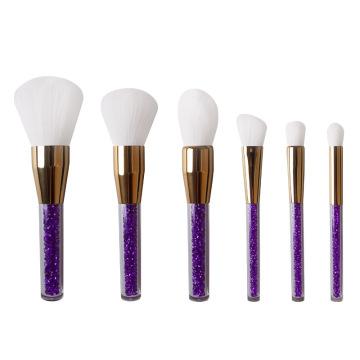6pcs crystal handle white hair makeup brushes set