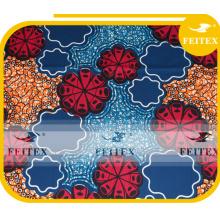 Usine prix direct design unique Africain ankara tissus tissé ciré polyester tissu FEITEX