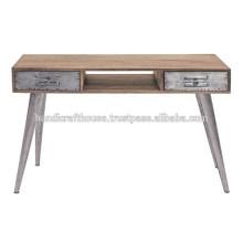 Mango industrial de madera y piernas de metal 2 mesa consola