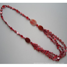 Long Multi Stands Crystal Beads Necklace