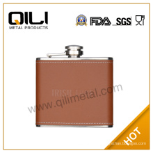 4oz stainless steel orchid hip flask with leather