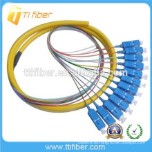 12Core Fibra óptica Bundle SC Pigtails / UPC con longitud Differnt