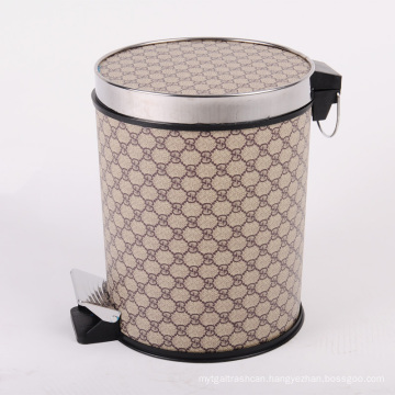 Round Luxury Design Leatherette Foot Pedal Trash Can (A12-1901A)