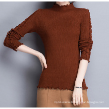 PK18ST097 women's classic top sweater trimmed with agaric laces brown series jumper sweater