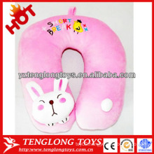Stuffed cartoon cute rabbit shaped pink plush neck pillow