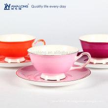 Heiße Verkaufs-reine Farben-fördernde feine keramische Knochen-China-Tee-Kaffeetasse und Untertasse
