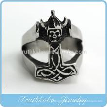 TKB-R0032 Hombres 316L Anillo de acero inoxidable grande Plata Negro Death Grim Reaper Skull Gothic Biker