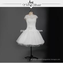 RSW731 Cap Sleeves Chiffon Short Lace Wedding Dress Patterns