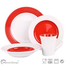 Red and White Swirl Ceramic Dinner Set