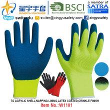 Guantes de invierno, 7g Acrylic Shell Napping guantes revestidos de látex de revestimiento (W1101) acabado de arrugas con CE, En420, En388, En511 certificado.