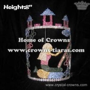 8in Height Crystal Castle Cinderella Pageant Crowns