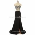 2017 nova chegada fora do ombro frisado atacado sexy vestido de baile alta divisão preto, luz azul sexy duas peças vestido de baile
