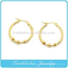 TKB-E0019 Inox Jewelry 316L Bola de acero inoxidable Dangle Hoop Post Pendientes Pendientes de aro de acero inoxidable de las mujeres