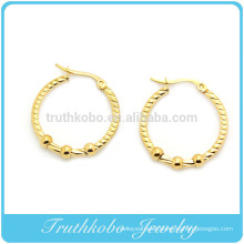 TKB-E0019 Inox Jewelry 316L Stainless Steel Ball Dangle Hoop Post Earrings Women's stainless steel hoop earrings