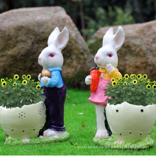 outside decoration resin rabbit planter for home garden and plaza