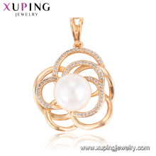 33285 Xuping latest design pearl pendant magnetic flower shape Synthetic CZ royal pendant jewelry