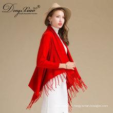 Trendy Femmes élégant rouge 100% pur cachemire pashmina châle