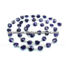 925 plata esterlina rebordeó cadenas Amethyst, proveedor al por mayor de la joyería de la piedra preciosa