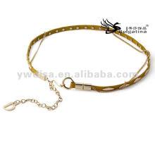 1 * 104 centímetros de cinto de couro amarelo magro cinto para mulheres BC4589G-1