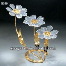 K9 flor de cristal com banhado a ouro
