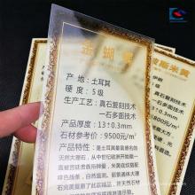 Oro que sella la etiqueta que espesa del precio del granito del PVC para las tejas