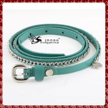 Cheap leather belts,pu honest leather belt with metal chain