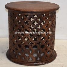 Mango Holzschnitzerei Runde Trommel Tisch