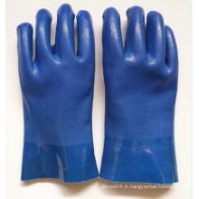 Gants en PVC bleu sablonneux avec résistance chimique