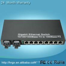 2 волокна 8 портов RJ45 для кабельного телевидения к конвертеру локальных сетей