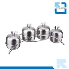 4 Pieces Stainless Steel Salt Pepper Set Condiment Spice Jar