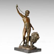 Soldaten Figur Statue Löwen Trainer Bronze Skulptur TPE-328