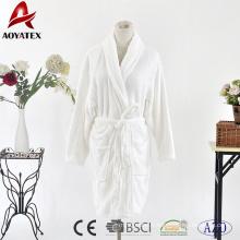 Chemise de bain courte en molleton flanelle blanc couleur unie classique