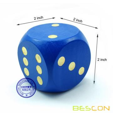 "Bescon Big Solid 2 inch Wooden Dice Set of 6pcs - Large Gaming Dice Set 2"" with Drawstring Canvas Bag - Large Wood Dice Set"