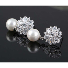 Ice Flower CZ Gold Earrings, Shell Pearl Silver Earrings