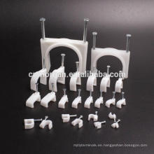 8mm plastic grey circle cable clips with different size of steel steels ,100pcs/bag