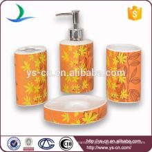 Atacado flor amarela decalque cerâmica casa de banho natural