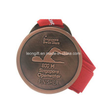 Natación personalizada cobre plateado mejor calidad medalla